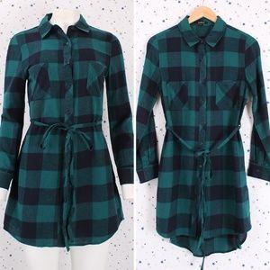 Tops - Plaid Button Up Tunic Shirt Dress Green/Navy